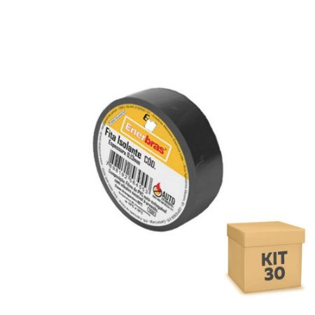 Kit 30 Fita Isolante 3M 10 Metros 18mm Preta