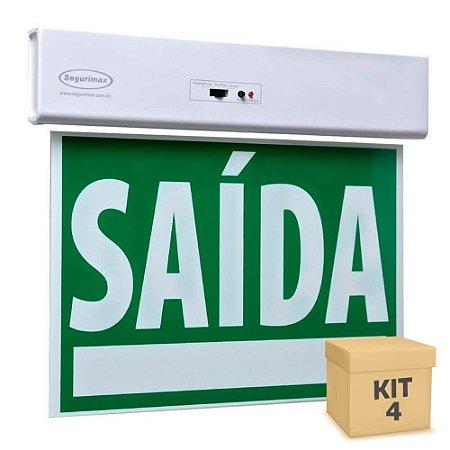 Kit 4 Sinalização Saída de Emergência LED Face Única SLIM Verde 50x25cm