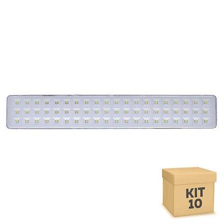 Kit 10 Luminária de Emergência 60 LEDs   Slim