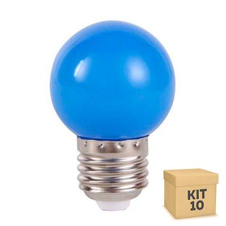 Kit 10 Lâmpada LED Bolinha 1w Azul   Inmetro