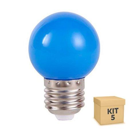 Kit 5 Lâmpada LED Bolinha 1w Azul   Inmetro