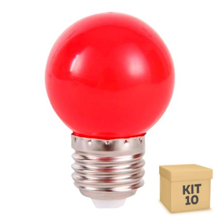 Kit 10 Lâmpada LED Bolinha 1w Vermelha | Inmetro