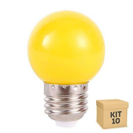 Kit 10 Lâmpada LED Bolinha 1w Amarela   Inmetro