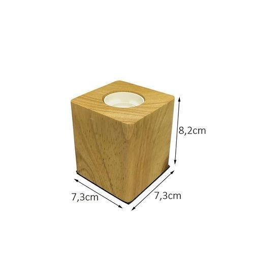 Luminária de Mesa LED Cube Madeira E27
