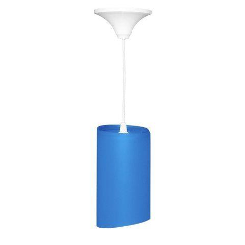 Pendente Cilíndrico de Plástico Azul E27