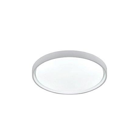 Luminária Plafon LED 50cm 48W Sobrepor Redondo Chanfro 3 Cores Branco