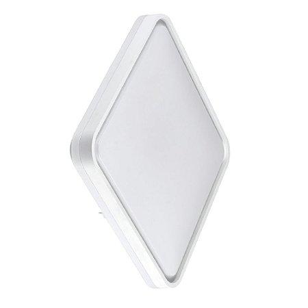 Luminária Plafon LED 40cm 48W Sobrepor Quadrado 3 Cores Borda Branca