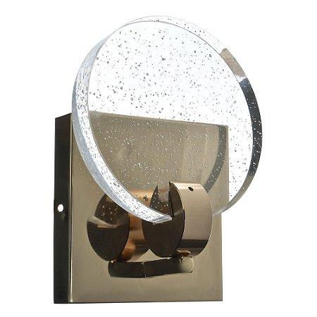 Luminária Arandela LED 7W Cristal Redonda Gotas Dourado Branco Quente