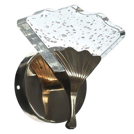 Luminária Arandela LED 7W Cristal Ondulado Dourado Branco Quente