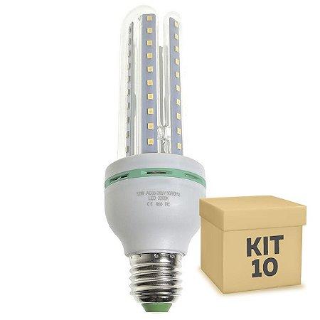 Kit 10 Lâmpada LED Milho 3U E27 12W Branco Frio | Inmetro