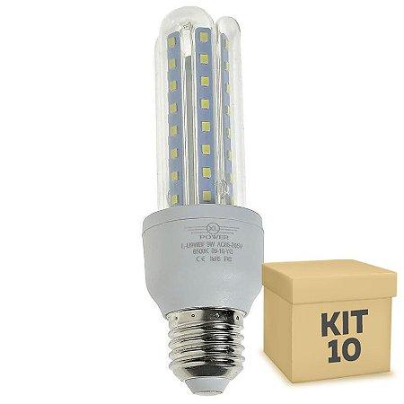 Kit 10 Lampada LED 9W E27 3U Branco Frio | Inmetro