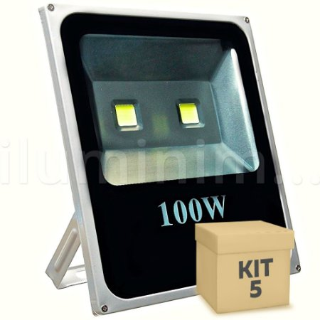 Kit 5 Refletor Holofote LED 100w Branco Frio
