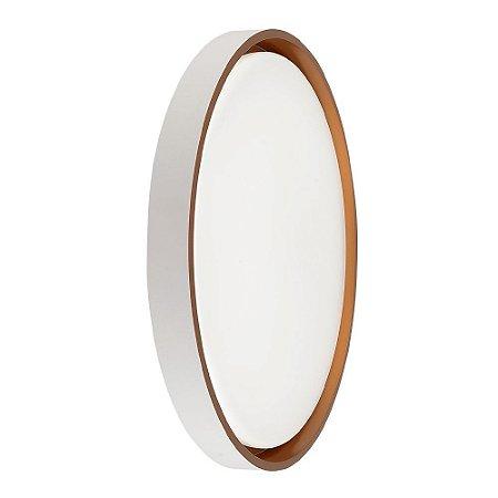 Luminária Plafon LED 40cm 48W Sobrepor Redondo Chanfro 3 Cores Dourado