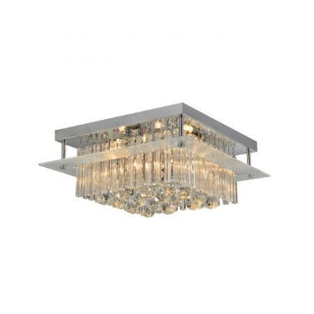 Lustre Plafon LED 40 x 18 x 40 cm G9 Quadrada Esferas Cristal