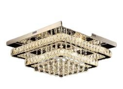 Lustre de Cristal K9 Plafon LED Quadrado 3 Cores 50x50