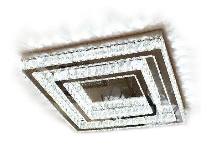 Lustre de Cristal K9 Plafon LED Quadrado 3 Cores 40x40
