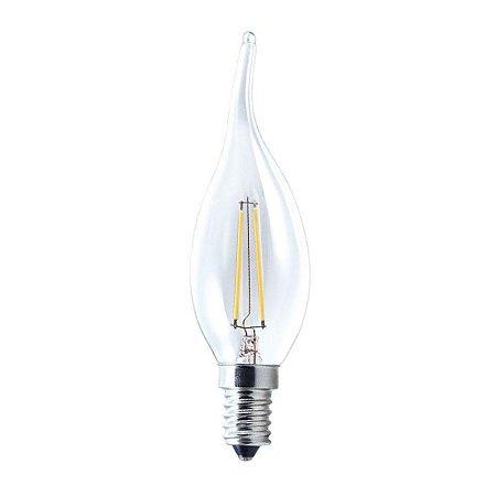Lâmpada LED Vela Chama E14 4W Vidro Branco Quente Filamento | Inmetro