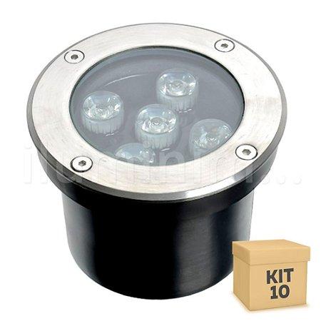 Kit 10 Spot Balizador LED 5W Branco Frio para Piso