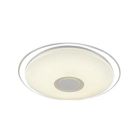 Luminária Plafon LED 45cm 30W RGB Bluetooth Sobrepor Redondo Branco