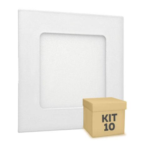Kit 10 Luminária Plafon LED 6w Embutir Branco Frio