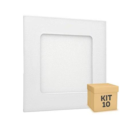 Kit 10 Luminária Plafon LED 6w Embutir Branco Quente
