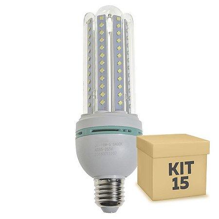 Kit 15 Lâmpada LED Milho 4U E27 18W Branco Frio | Inmetro