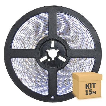Fita LED Branco Frio 3528 15 metros com Fonte