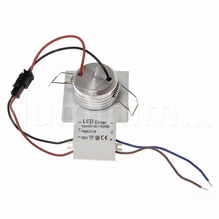 Mini Spot LED COB 3W Embutir Quadrado