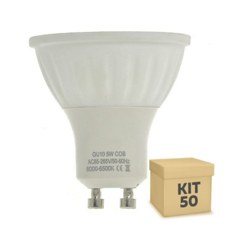 Kit 50 Lâmpadas LED Dicróica 5W GU10 Branca|Amarela | Inmetro