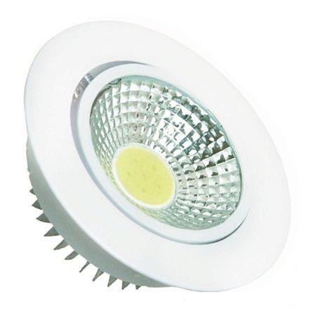 Spot LED 3W COB Embutir Redondo Branco Quente Base Branca