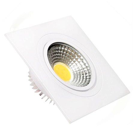 Spot LED 3W COB Embutir Quadrado Branco Quente Base Branca