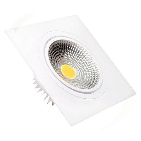 Spot LED 5W COB Embutir Quadrado Branco Quente Base Branca