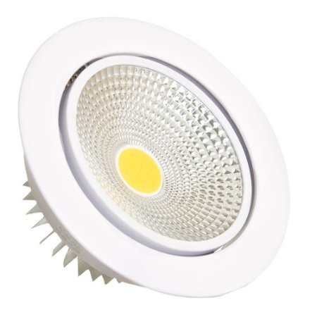 Spot LED 7W COB Embutir Redondo Branco Quente Base Branca