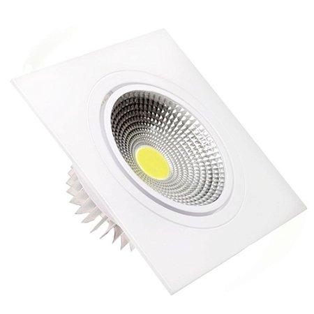 Spot LED 7W COB Embutir Quadrado Branco Quente Base Branca