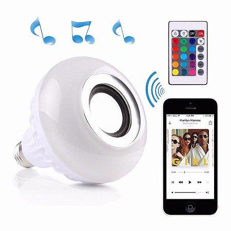 Lâmpada Led 12w Rgb com Caixa de Som Bluetooth e Controle Remoto
