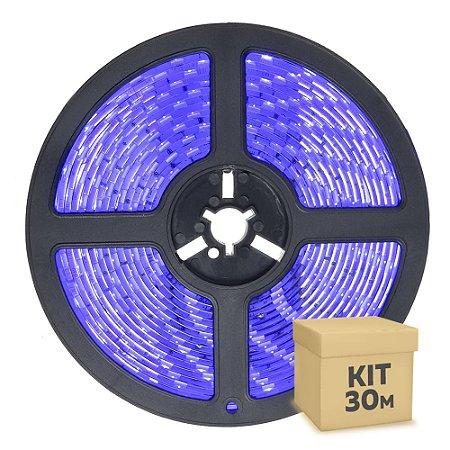 Fita LED Azul 3528 30 metros IP65 com Fonte