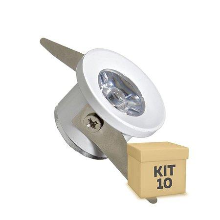 Kit 10 Spot LED COB 1W Embutir Branco Frio