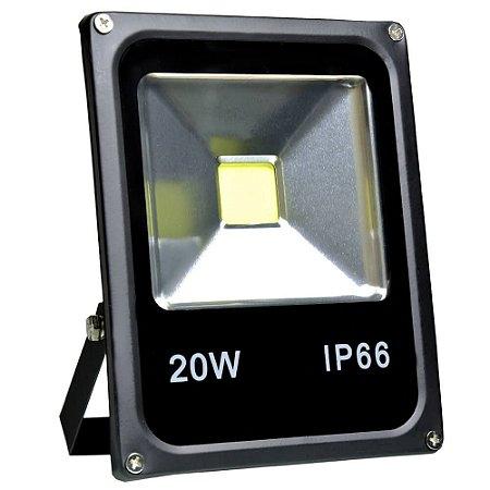 Refletor Holofote LED 20w Branco Frio Preto