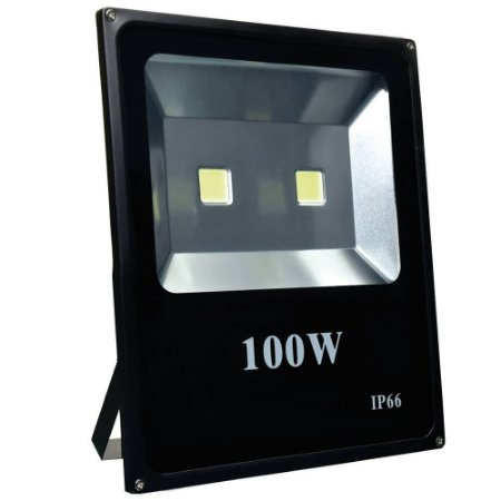 Refletor Holofote LED 100w Branco Frio Preto