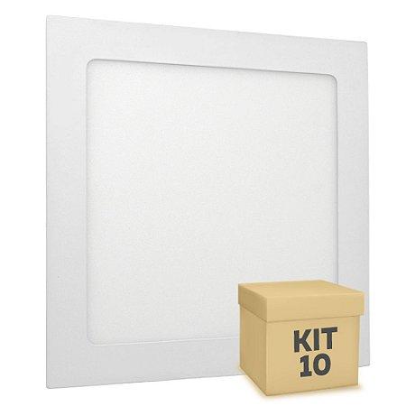 Kit 10 Luminária Plafon LED 18w Embutir Branco Quente