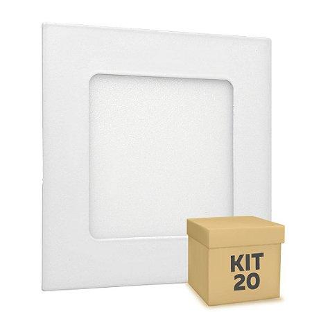 Kit 20 Luminária Plafon LED 6w Embutir Branco Frio