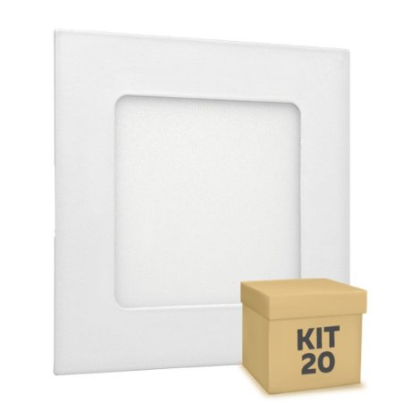 Kit 20 Luminária Plafon LED 6w Embutir Branco Quente