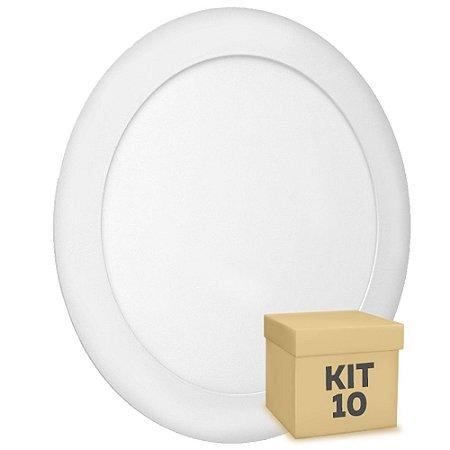 Kit 10 Luminária Plafon 18w LED Embutir Branco Frio