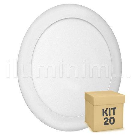 Kit 20 Luminária Plafon 18w LED Embutir Branco Frio