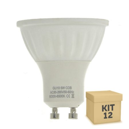 Kit 12 Lâmpadas LED Dicróica 5W GU10 Branca|Amarela | Inmetro