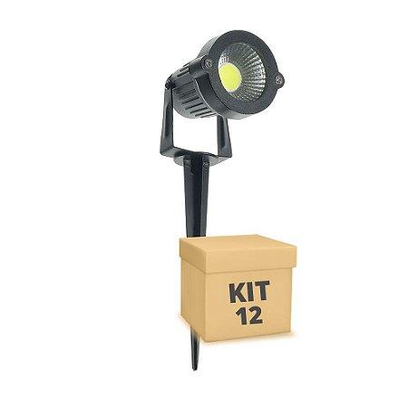 Kit 12 Espeto de Jardim LED 3w Branco Frio