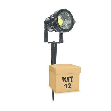 Kit 12 Espeto de Jardim LED 5w Branco Frio