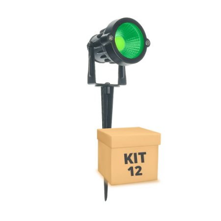 Kit 12 Espeto de Jardim LED 5w Verde