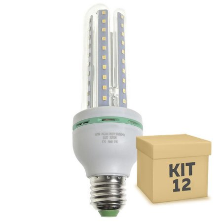 Kit 12 Lâmpada LED Milho 3U E27 12W Branco Frio | Inmetro