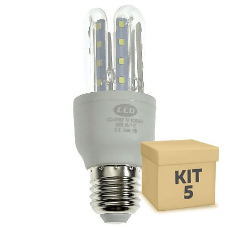 Kit 5 Lâmpada LED Milho 3U E27 7W Branco Frio | Inmetro